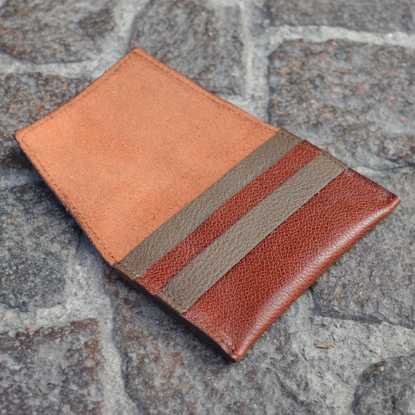 Rust & Beige Umbria Card Case, Open