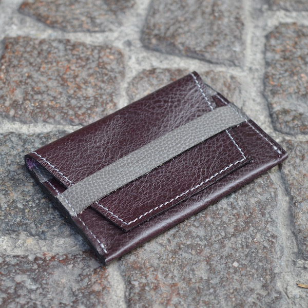 Wine & Gray Umbria Card Case, Front