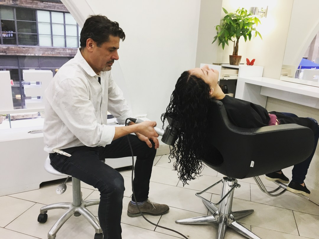 Federico works on Curly Hair