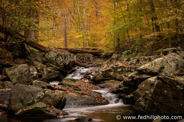 Fine art autumn nature photo of Broad Run stream feeding into Gunpowder Falls river.