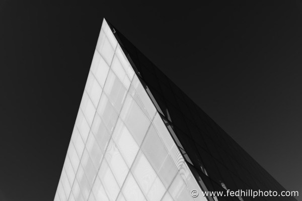 Black and white fine art photo of an edge of the Maryland Institute College of Art (MICA) Brown Center in Baltimore, Maryland.