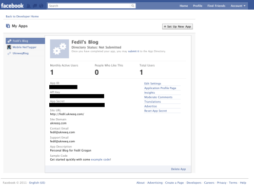Facebook Application Information Page