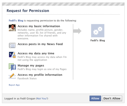 Example of Facebook App requesting permission for Facebook profile information