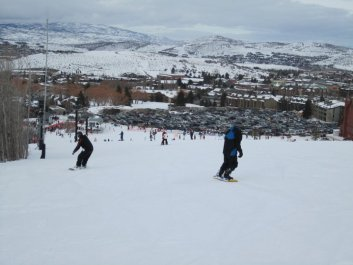 Stephen and I snowboarding in Park Cities, UT
