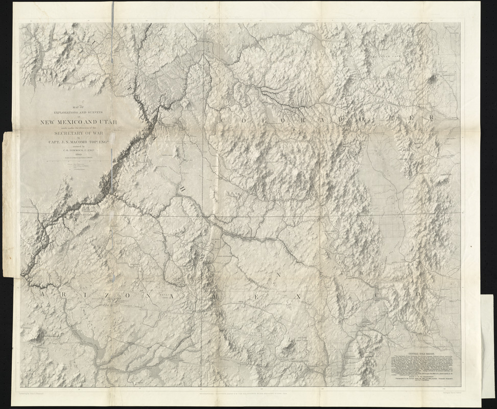 Map of explorations and surveys in New Mexico and Utah made under     Map of explorations and surveys in New Mexico and Utah made under the  direction of the Secretary of War by Capt  J  N  Macomb topl  engrs   assisted by C  H