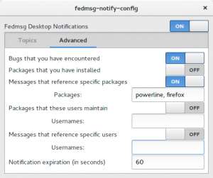 Setting fedmsg notification options for upstream monitoring