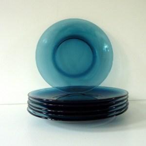 Assiettes Vereco bleues
