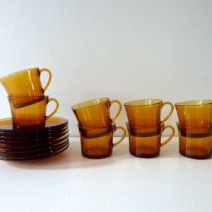 8 tasses a cafe duralex ambre