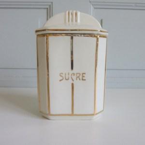 4 pots anciens dorés Porcelaine blanche, décors dorés