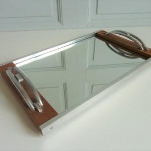 Plateau ancien miroir rectangle bois et métal