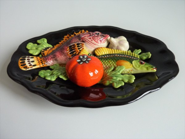 Assiette Barbotines Trompe l'œil poissons et légumes