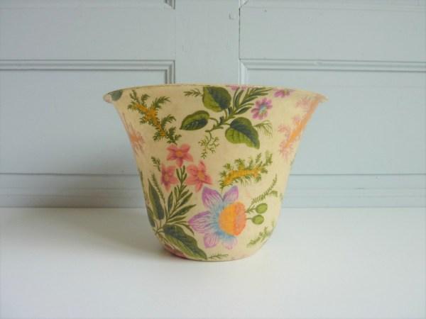 Cache pot vintage fleurs tissu résiné made in France
