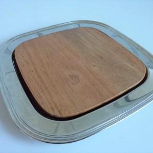 Plat de présentation bi matière métal argenté et bois
