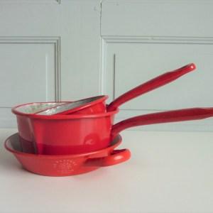 Set casseroles émaillé rouge Le Préféré St Servais Belgique