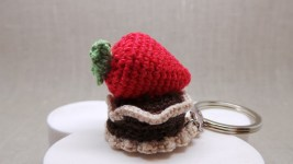 Crochet Strawberry Keychain