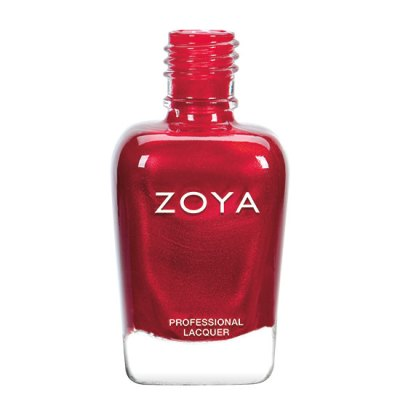 A polish bottle showing Rashida by Zoya, described as a dazzling ruby red with a shimmer of red micro pearl.