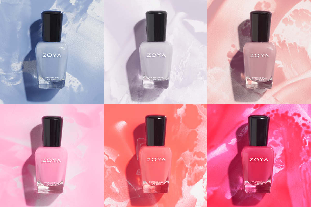 The 6 colors in the Spring 2021 ZOYA Darling Collection are shown with caps on colored backgrounds that match their bottles.