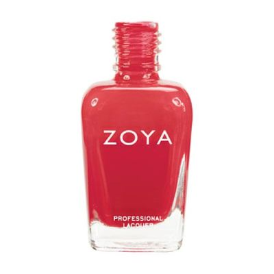 A nail color called LC by Zoya, described as a bright, creamy saturated coral red with a shiny cream finish.