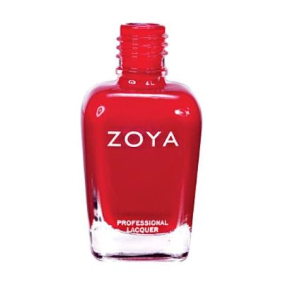 A polish color named Sooki by Zoya, described as a bright, clean, crisp cool cherry red cream with a subtle jelly finish.