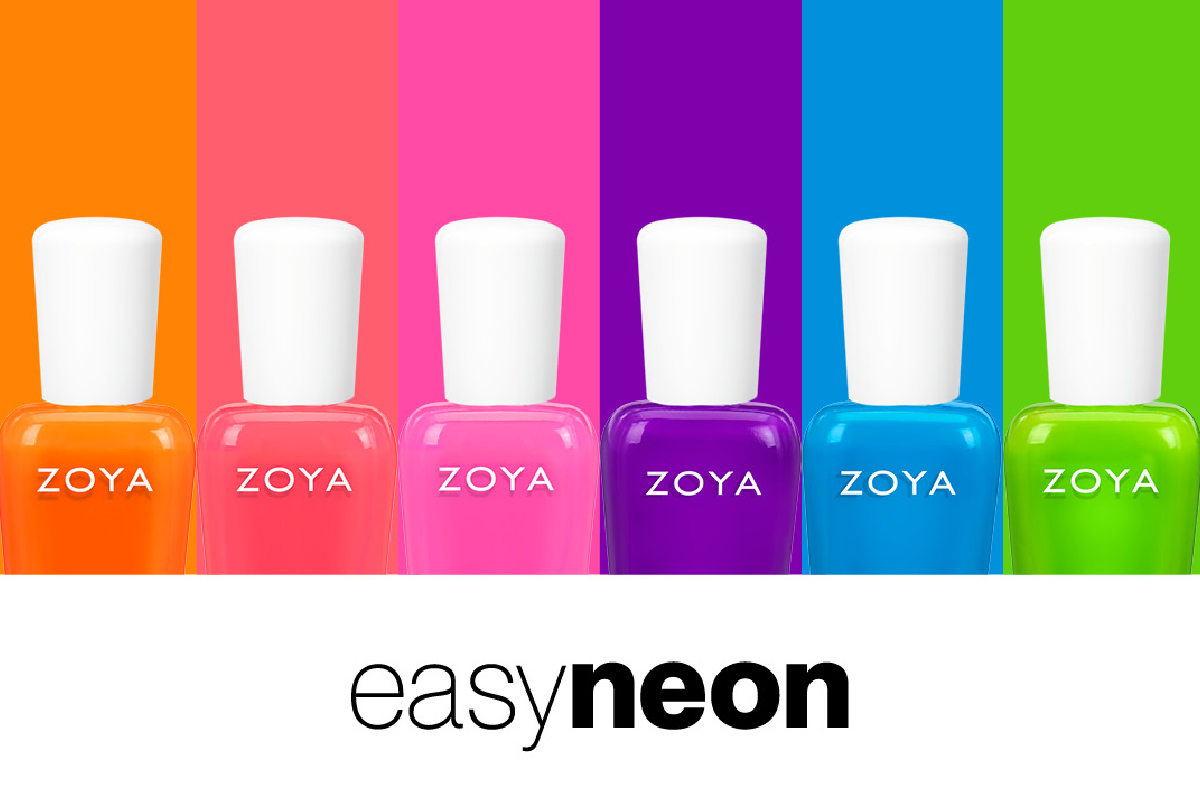 All 6 colors from the EasyNeon Collection are shown with their white caps on a background that matches the bottle colors, with the name of the collection written below.