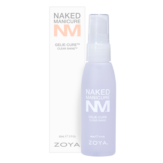 A bottle of the Clear Shine spray by ZOYA and Naked Manicure next to its packaging box.