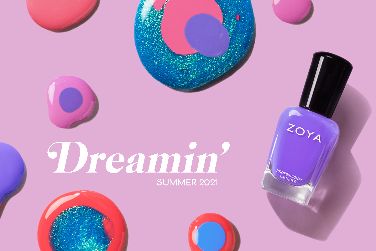 ZOYA Skipper from the Summer 2021 Dreamin Collection is shown on a background of polish spills from the same collection.