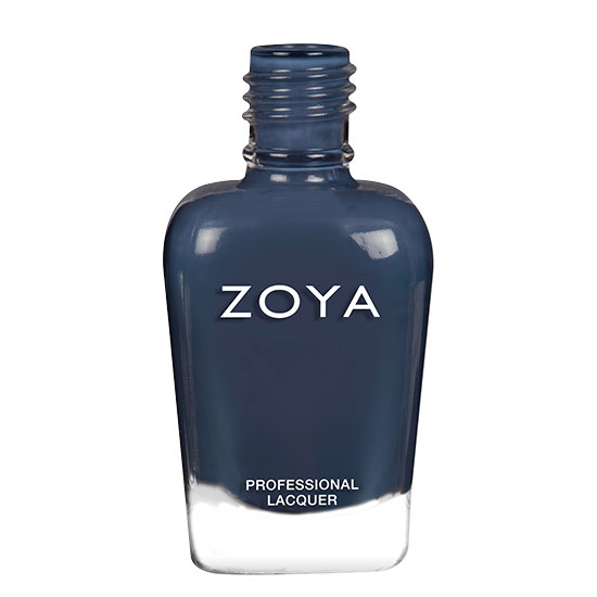 A bottle of Lou by Zoya, best described as a deep spruce blue cream with a kiss of green.