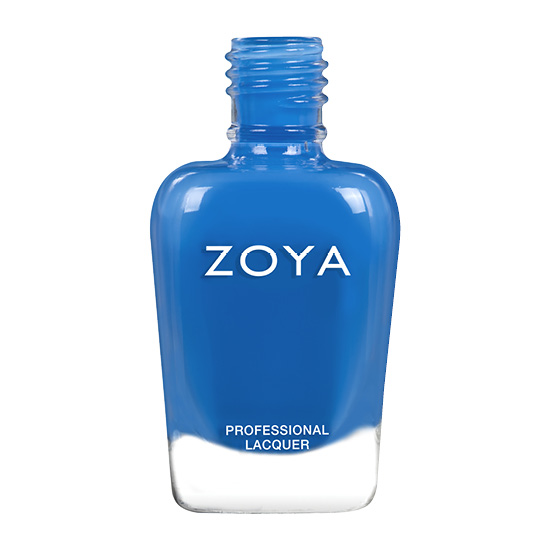 A bottle of Mateo by Zoya, best described as a cool-toned pacific blue cream.