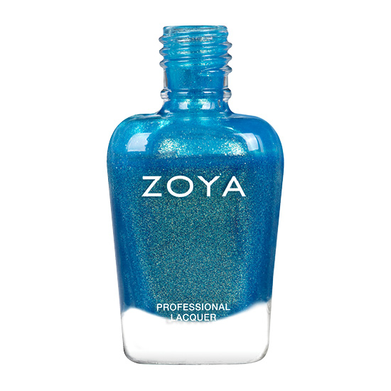 A polish called Summer by Zoya, best described as a mermaid shimmer featuring flashes of green and gold with a blue base.