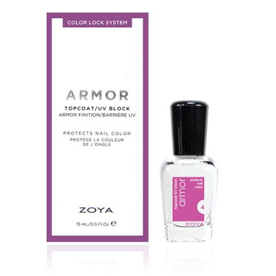 A bottle of the Armor top coat by ZOYA next to its packaging box.