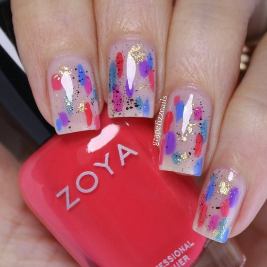 An abstract summer nail art mani using the ZOYA Dreamin' collection by @grapefizznails.
