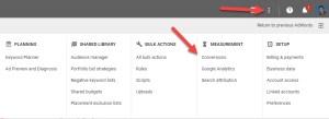 Google Adwords Menu Conversions