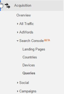 Acquisitions Search Console