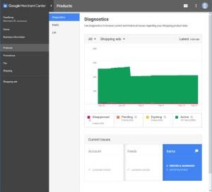 Google Merchant Diagnostics Panel