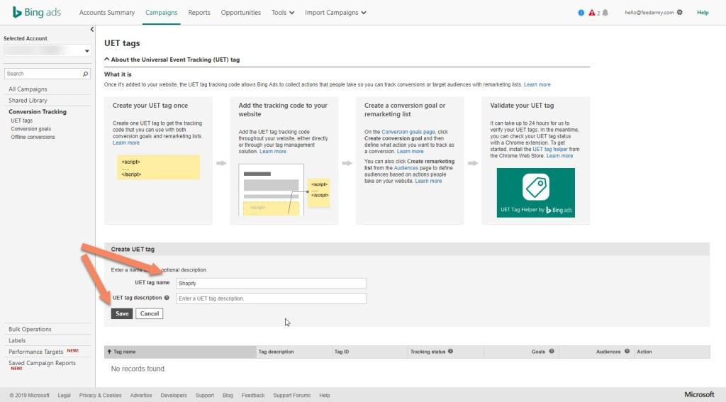 Bing Create UET Tag2
