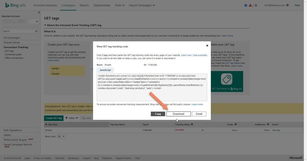 Download Bing UET Tag