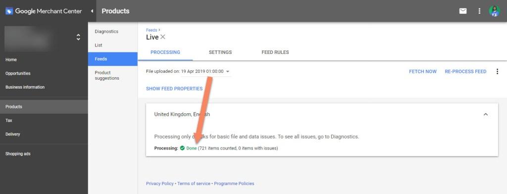 Google Merchant Center Feed Processing