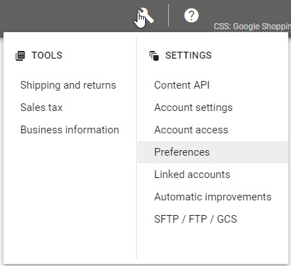 Google merchant center preferences