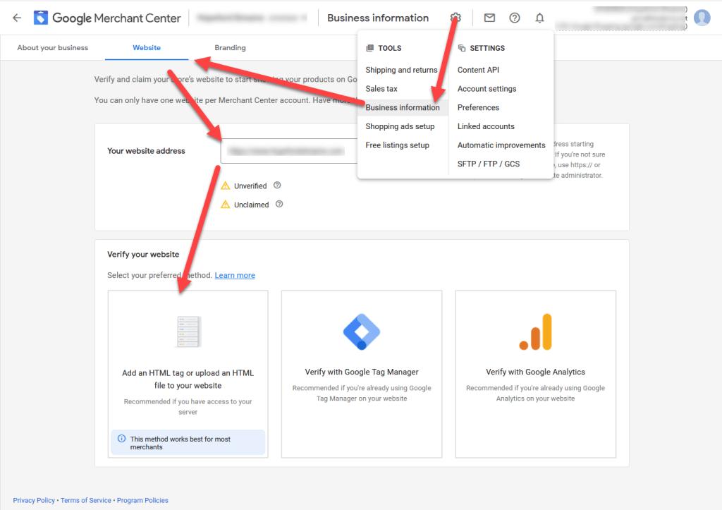 Google Merchant Center Verify and Claim