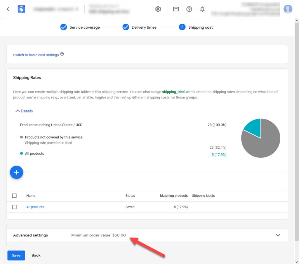 Google Merchant Center Shipping Settings