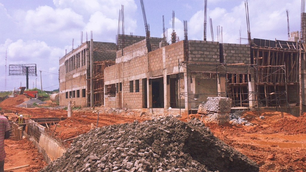 Picture of ongoing construction of Ojoo Bus Terminal, Ibadan taken on July 10, 2021