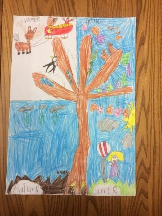Tree Drawings - seasons change art lesson