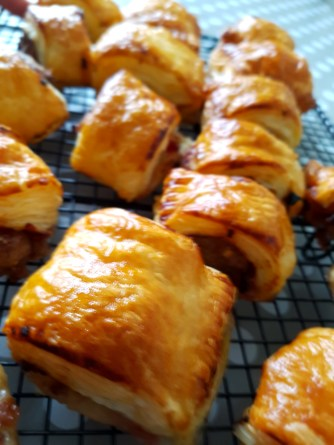 sausage rolls fresh out of the oven