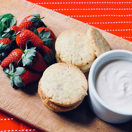 Strawberry Shortcake with Baby Basil and Sweetened Creme Fraiche