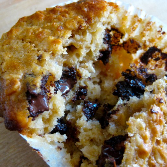 Buttermilk, oat and chocolate chunk muffins
