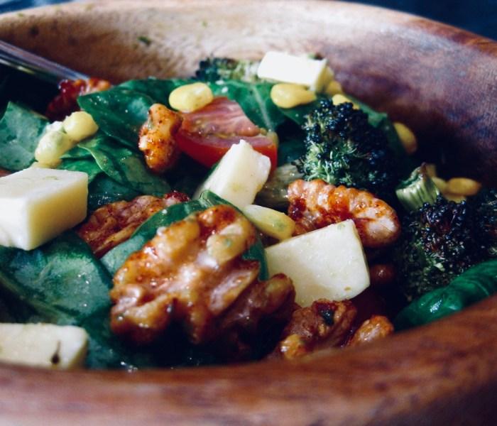 Roasted broccoli, cheddar and spiced walnut salad