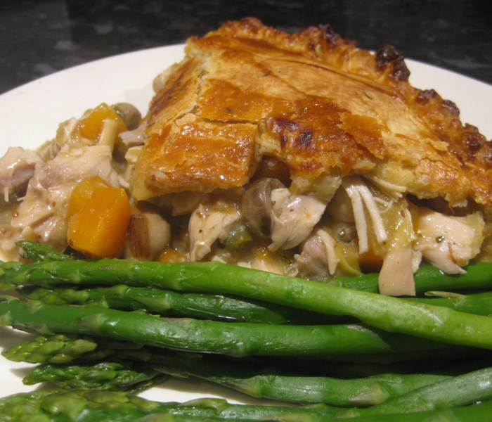 Roast chicken and vegetable pie