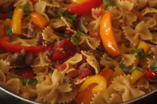 italian sausage and pepper pasta skillet