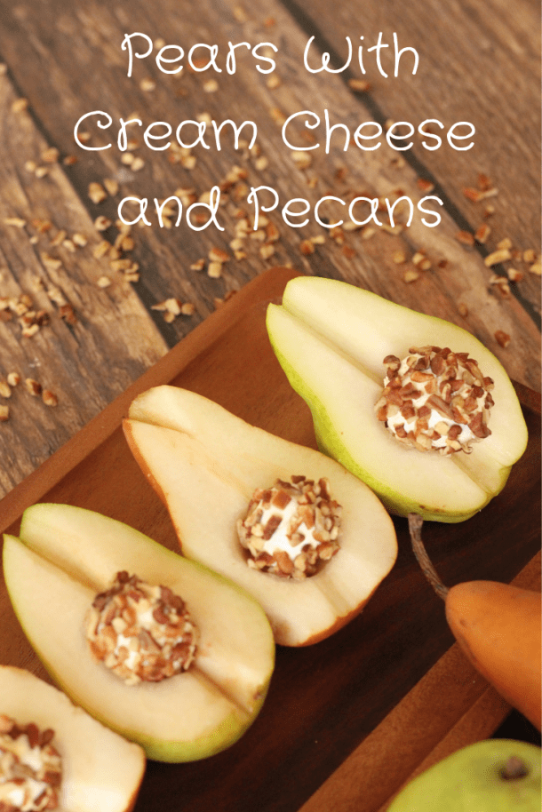 Pears with cream cheese pecan ball