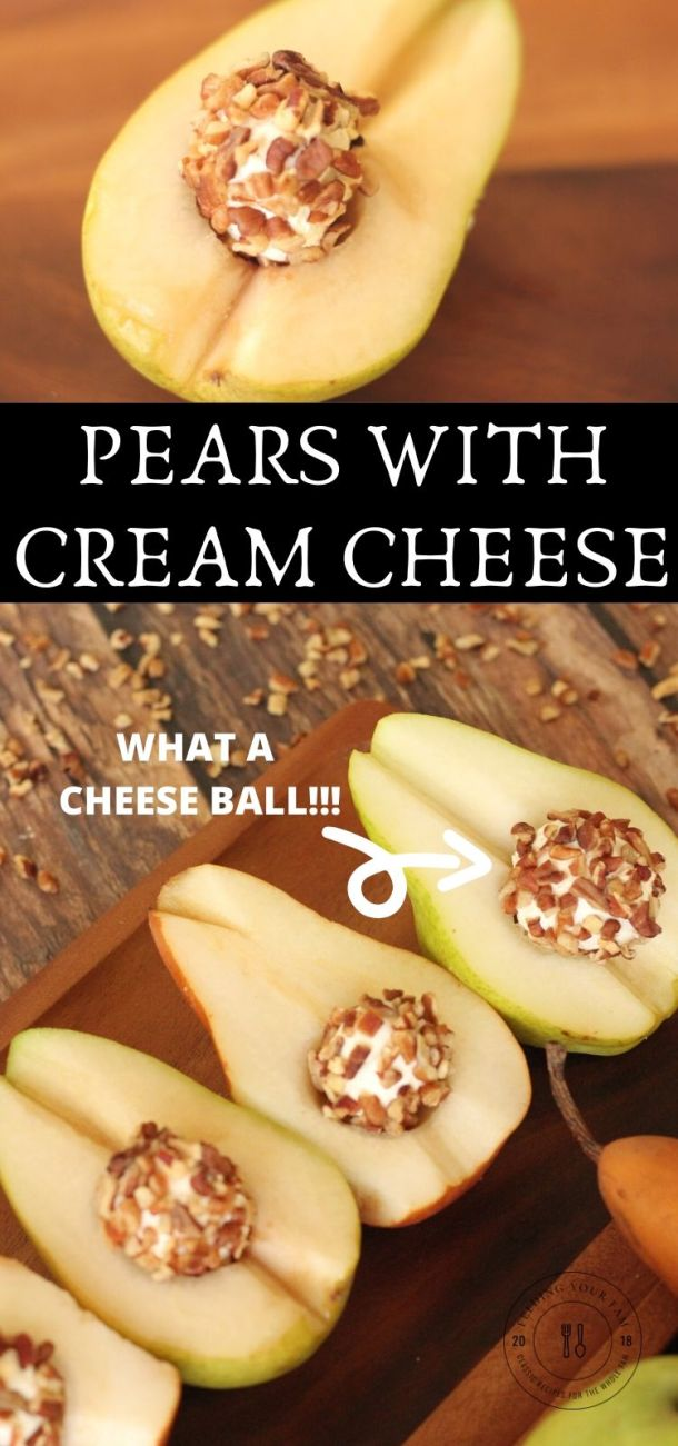 pears with little cream cheese balls